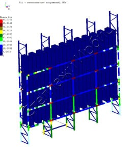 Расчёт нагрузки фронтального стеллажа методом конечных элементов