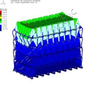 Расчёт нагрузки глубинного стеллажа методом конечных элементов