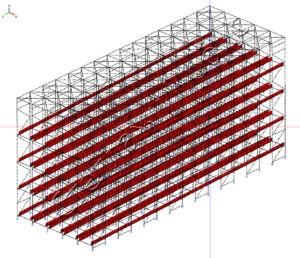 Расчёт нагрузки гравитационного стеллажа методом конечных элементов