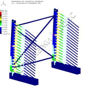 Расчёт нагрузки консольного стеллажа методом конечных элементов