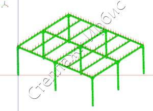 Расчёт нагрузки на этажный стеллаж на колоннах методом конечных элементов