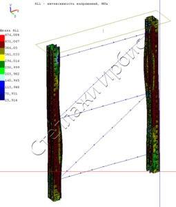 Расчёт нагрузки рамы стеллажа методом конечных элементов